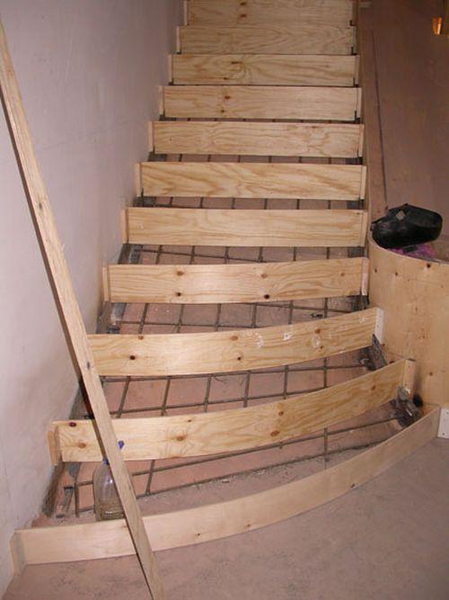 Расчет бетонной лестницы с забежными ступенями