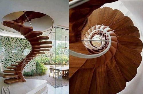 Винтовая лестница сбоку и сверху