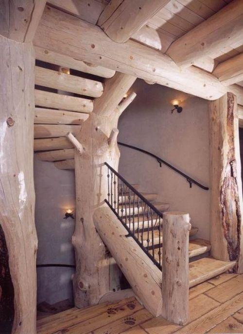 Как сделать лестницу из бревна?