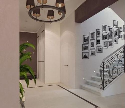 Чёрно белый дизайн лестницы для дома