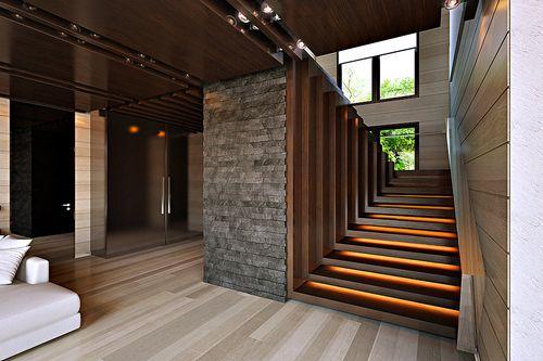 Варианты современного дизайна для лестничного холла